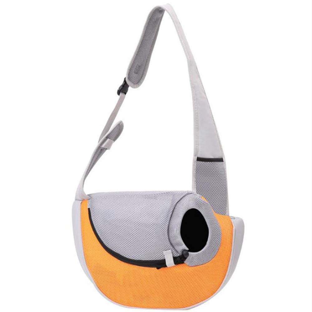 WQING Sling Carrier Dog Cat Sling Bag Shoulder Carry Pets Travel Carrier Bag Hand Free Pet Travel Shoulder Bags,Orange,S