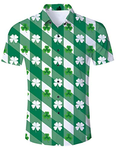 (Uideazone St.Patrick's Day Party Short Sleeve Button Down Shirts Diagonal Stripes Clover Shirt Green)
