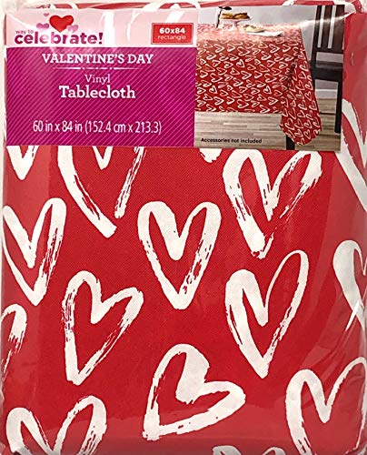 Celebrate! Valentines Day Vinyl Tablecloth Brush Heart 60 X 84 -