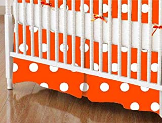 product image for SheetWorld 100% Cotton Percale Crib Skirt 28 x 52, Polka Dots Orange, Made in USA