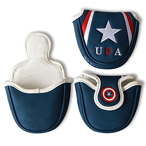 Craftsman Golf Blue USA Star Magnetic Golf Mallet Putter Cover Headcover for Scotty Cameron Taylormade Odyssey Ping Mallet Club - Magnetic Closure Headcover