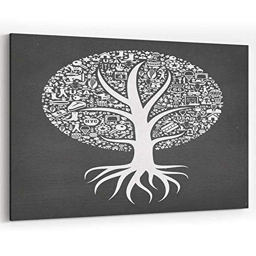 (Growing Tree USA Royalty Free Vector Image Canvas Art Wall Dector for Modern Home)