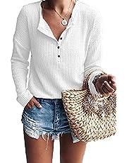TARAINYA Women's Waffle Knit Tunic Tops V Neck Button Up Casual Loose Long Sleeve Henley Shirts (Local Warehouse Shipped)