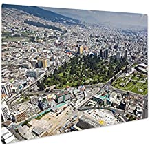 Ashley Giclee Metal Panel Print, Aerial View North Central Quito Area The Park El Ejido Arbolito Casa De La, Wall Art Decor, Floating Frame, Ready to Hang 16x20, AG6093244