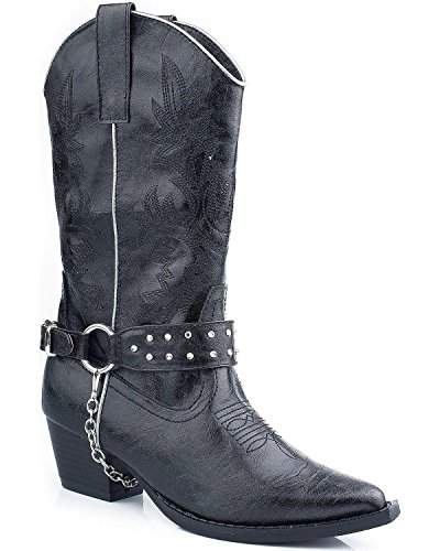 Silver Snip Toe Harness Cowgirl Boot, Black, 10 M US Toddler