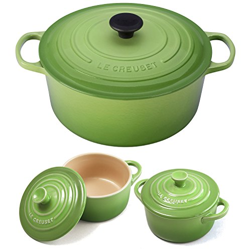 Le Creuset Signature Palm Enameled Cast Iron 7.25 Quart Round French Oven with 2 Free Stoneware Cocottes