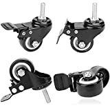 COOCHEER Black 1-1/2inch 360 Degree Stem Caster Wheel with Brake for Shopping carts, Hand Trolley, Tools, Movable Furniture Pack of 4
