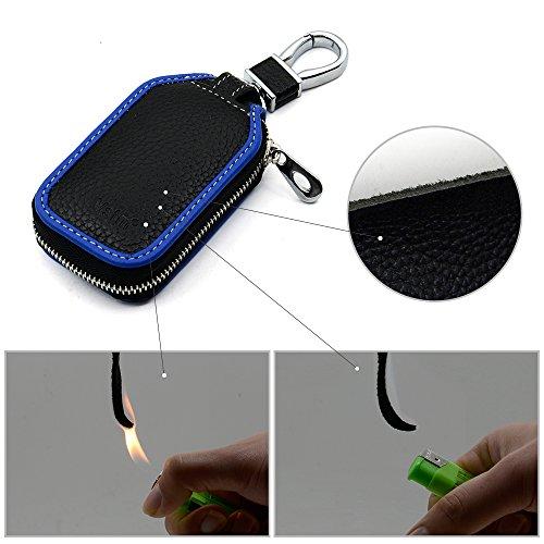 Car Key Chain Bag,VSTM Blue Car Key Chain Premium Leather Key Holder Bag Car Smart KeyChain Coin Holder Met