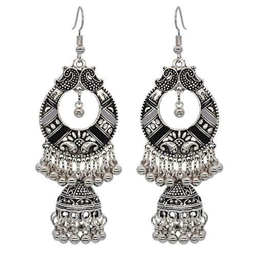 Vintage Silver Alloy Bells Beads Tassel Statement Earrings for Women Turkish Tribal Gypsy Indian Jewelry Party (Style 4)