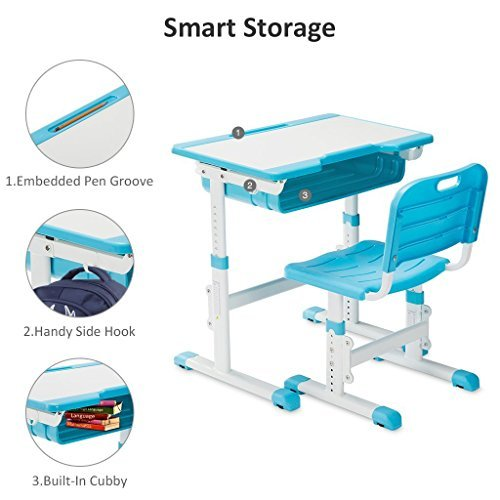 Slypnos Ergonomic Adjustable Children's Desk and Comfortable Chair Set Specially Designed for Children Age 3-14, Blue by Slypnos (Image #6)