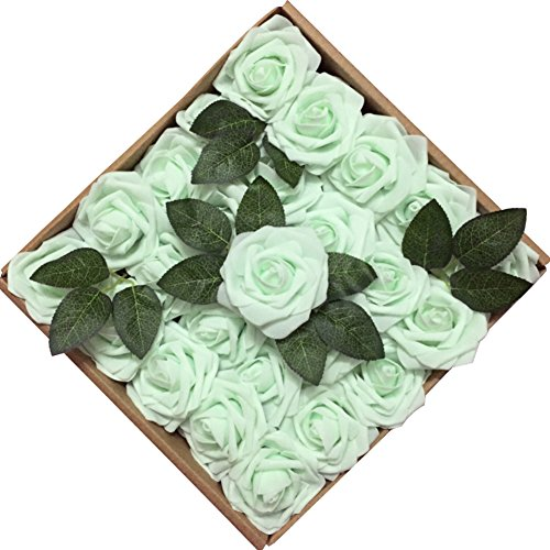 Mint Green Rose - Jing-Rise 50PCS Fake Roses Real Looking Artificial Flowers For DIY Wedding Bouquets Centerpieces Baby Shower Party Home Office Shop Hotel Supermarket Decorations(Mint/Light Green)