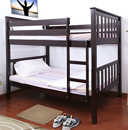 Milton Greens Stars Pineville Wooden Bunk Bed, Twin, Cappuccino