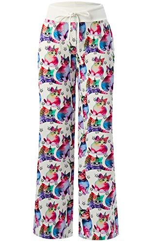 Cat Colorful (Women's Summer Pyjamas Pants High Waist Wide Leg Casual Colorful Cat Print Lounge Pants Trousers)