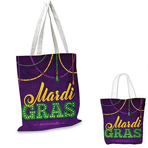 Mardi Gras canvas messenger bag Beads and Tassels Masquerade Theme Calligraphy Design Fun Print canvas beach bag Purple Marigold Fern Green. 14