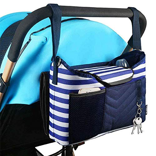 Baby Stroller Organizer Bag for Mom also Converts to a Stylish Shoulder Bag | BONUS Changing Pad | TWO Cup Holders | Mesh Pocket for iPhones, iPads, and Secret Compartment for your Wallets and Keys