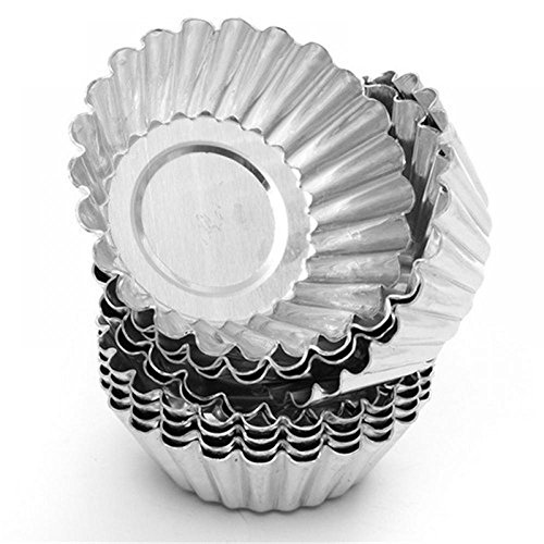 (TXIN 20 Pack Egg Tart Aluminum Cupcake Cake Cookie Mold Pudding Mould Tin Baking Tool(M))