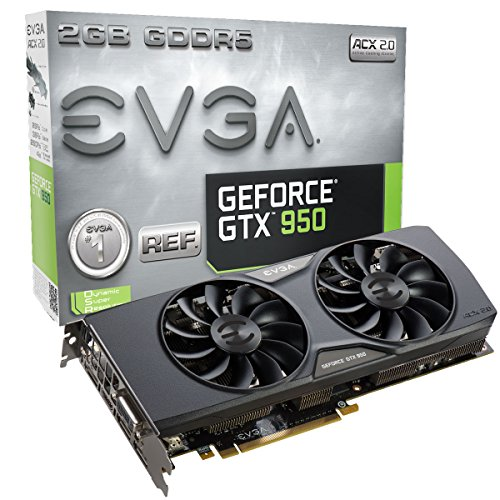 EVGA GeForce GTX 950 2GB ACX 2.0 GAMING, Silent Cooling w/ Free Installed Backplate Graphics Card 02G-P4-1955-KR