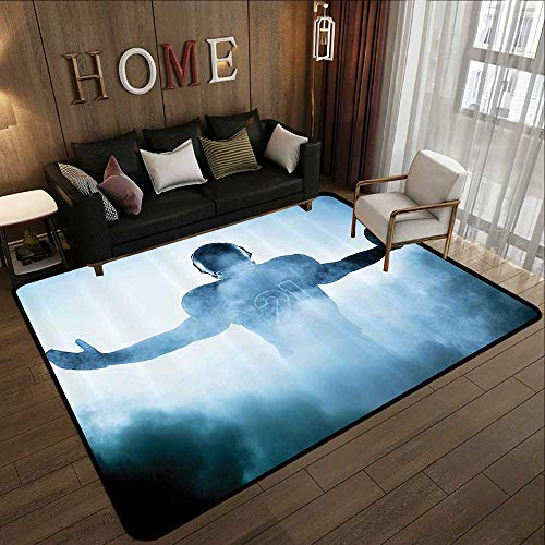 - Natural Fiber Area Rug,Football Decor,Heroic Shaped Rugby Player Silhouette Shadow Standing in Fog Playground Global Sports Photo,Blue 78.7