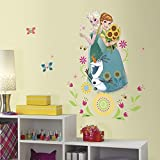 1 Piece Kids Blue White Green Frozen Wall Decal, Disney Themed Wall Stickers Peel Stick, Fun Animated Elsa Anna Olaf Snowman Butterflies Floral Princess Sunflower Decorative Graphic Mural Art, Vinyl