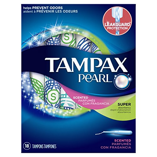 Tampax Pearl Plastic Tampons, Super Absorbency, Scented, 18 ()