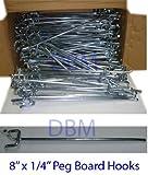 Heavy Duty 8'' x 1/4'' PEG Board Hook Shelf Hanger 100 PC