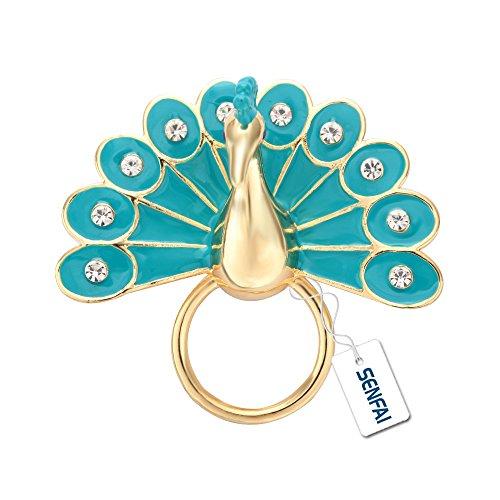 SENFAI Green Color Peafowl Eyeglass Holder Peacock Magnet Sunglass Holder - Gold Bee Sunglasses