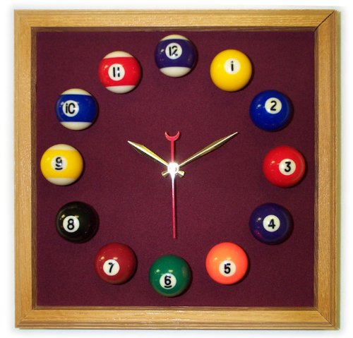 12in Square Billiard Clock Oak Wine Mali - Clock Felt Square