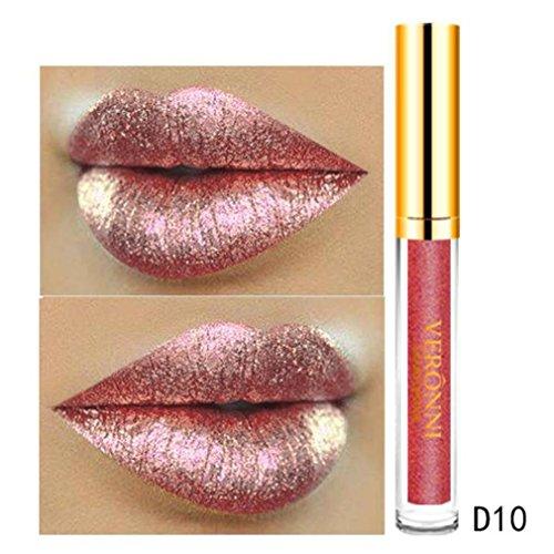Ourhomer Waterproof Lasting10 Color Womens Magic Glitter Flip Lipstick Flip Pull Matte Pearl Lip Gloss CLU ()