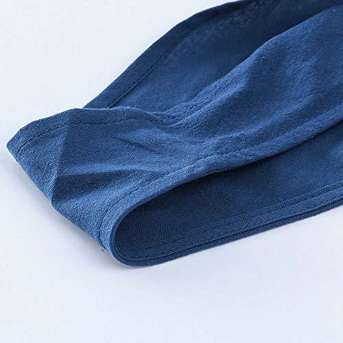 Ample Unie Femme Salopette Romper Large Harem Combinaison Jumpsuit Casual Amuster Couleur Pantalon Sarouel Bleu Coton 5qpUzz