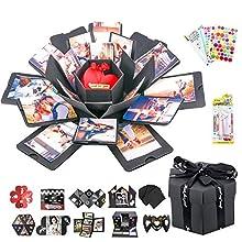 WERTIOO Exploding Box, DIY Explosion Gift Box Surprise Photo Box Handmade Photo Album Scrapbooking with 6 Faces for Wedding Box, Birthday Party,Boyfriend