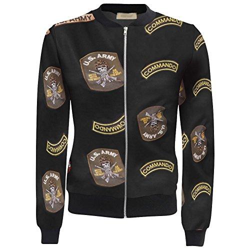 Ladies Vintage Floral Print Womens Crop Biker Bomber Jacket Top Size 8-14