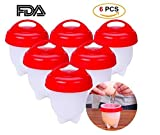 Boiled Egg Cooker Egglettes Hard Boiled Eggs without the Shell, Egg Cooker AS SEEN ON TV, Egg Cooker Set of 6 Non-stick Silicone Egg