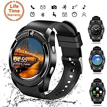 ... Wrist Watch with Camera/SIM Card Slot,Waterproof Phone Smart Watch Sports Fitness Tracker for Android iPhone IOS Phones Samsung for Men Women Kids Black