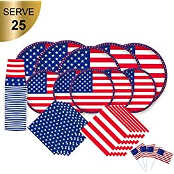 "American Flag Patriotic Paper Tableware Set- 125 Pieces - Including Napkins , 10"" Big Paper Dinner Plates,7"" Dessert Plates and Paper Cups, Cupcake topper, complete set for Veterans day, Election day"