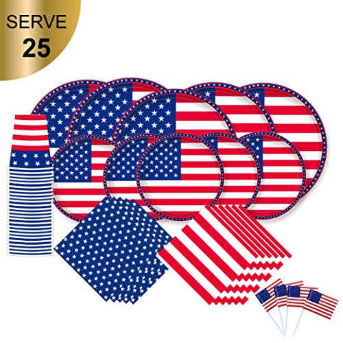 American Flag Patriotic Party Paper Tableware Set- 125 Pieces - Including Napkins, 10'' Big Paper Dinner Plates,7'' Dessert Plates and Paper Cups by Gatherfun