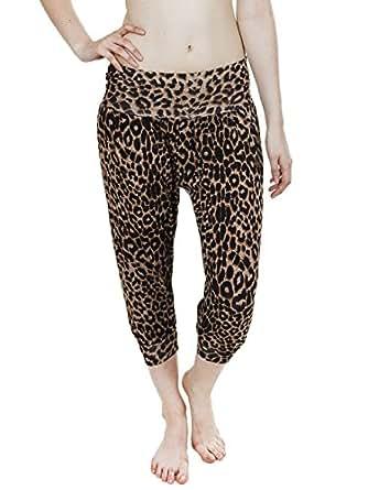 Love My Fashions Women's 3/4 Leopard Animal Print Ali Bbaba Trousers S/M Brown