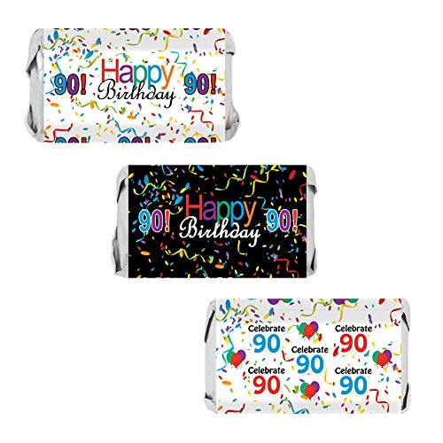 Candy Wrapper Birthday Favor (90th Birthday Party Favors - Miniatures Candy Bar Wrapper Stickers - Multi-Colored (54 Count))