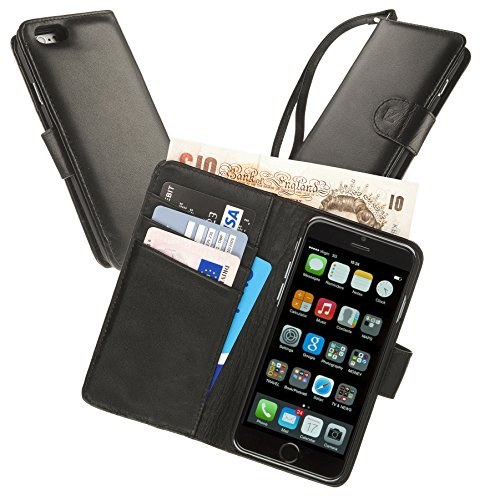 Manhattan Real Leather Full Wallet Case, iPhone 6 4.7 with Card Holder & Note Pocket in Black