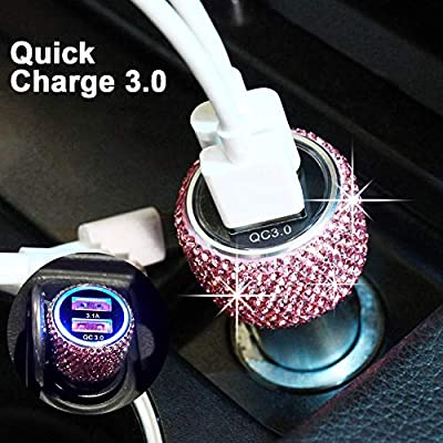 Bling Dual USB Car Charger Quick Charge 3.0 Crystal Car Decorations Fast Charging Adapter Women Cute Car Accessories for iPhone Samsung Galaxy S10/S9/S8/S7/S7 Edge/S6/Edge+ Nexus 6P/5X,LG,Nexus(Pink): Home Audio & Theater
