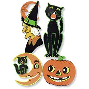 luckybuy168 4 Pack Large Retro HALLOWEEN Diecuts VINTAGE Party DECORATIONS American Horror Story