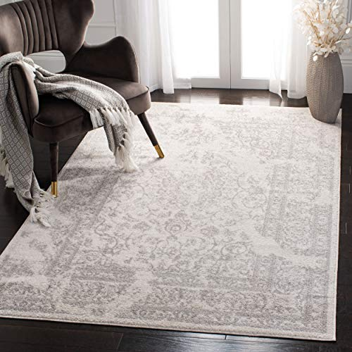 Safavieh Adirondack Collection ADR101B Ivory and Silver Oriental Vintage Distressed Area Rug -
