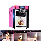 Commercial Ice Cream Machine ,Vinmax Soft Ice Cream Making Machine With 3 Flavors Desktop Small Automatic Drum Ice Cream Machine Without Refrigerant 110V (Pink)