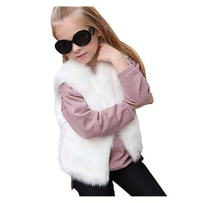 Corala Toddler Little Kids Girls Winter Warm Fluffy Synthesis Fur Sleeveless Vest Waistcoat Jacket Coat