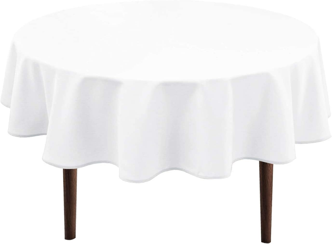 Amazon Com Hiasan White Round Tablecloth 60 Inch Waterproof Stain Resistant Spillproof Polyester Fabric Table Cloth For Dining Room Kitchen Party Kitchen Dining