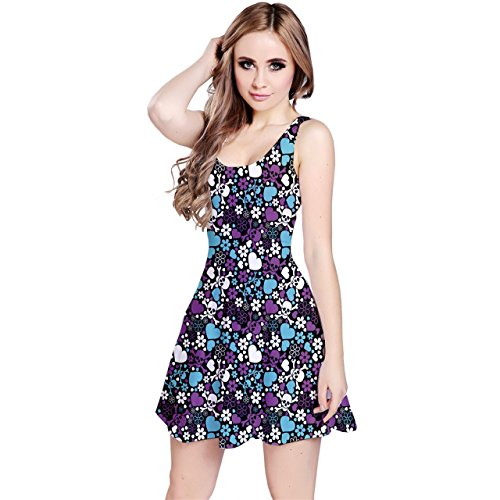 Purple Pattern Sleeveless Dress and Reversible Flowers Hearts CowCow Skulls Udqw77A