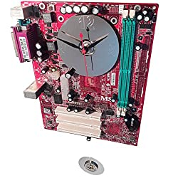 Red Motherboard Pendulum Wall Clock. Colorful, Hand-Made, One-of-a-kind. WOW! Holiday Ready.
