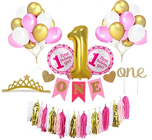 1st Birthday Decoration Set for Girl - Birthday Gold Crown, Cake Topper, Banner, Gold Foil Balloon, Pink, Gold and White Latex Balloons