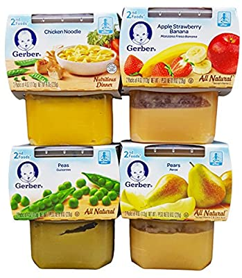 Gerber 2nd Foods Bundle (4 Pack). 1 Apple Strawberry Banana, 1 Peas, 1 Chicken Noodle, and 1 Pears. Plus Bonus 1 Pack of Flushable Moist Wipes. by Gerber that we recomend personally.
