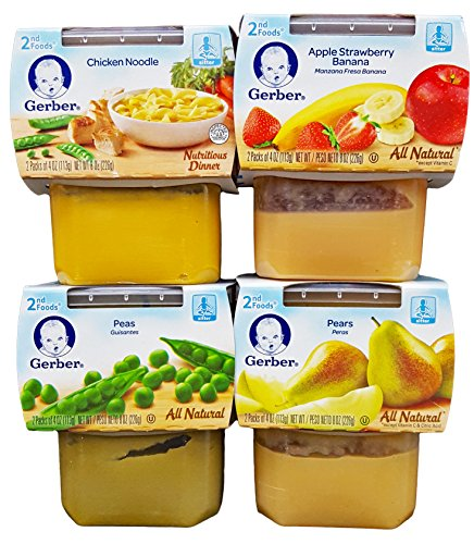 Gerber 2nd Foods Bundle (4 Pack). 1 Apple Strawberry Banana, 1 Peas, 1 Chicken Noodle, and 1 Pears. Plus Bonus 1 Pack of Flushable Moist Wipes.