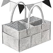 Baby Diaper Caddy | Nursery Storage Tote Organizer | Bonus Felt Bunting Nursery Decoration